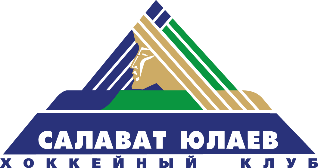 Salavat Yulaev Ufa Logo Primary Logo (2008/09-2013/14) - A golden statue head infront of a blue and green triangular shape.  Золотая статуя возглавляет в синее-зеленой треугольной форме.  SportsLogos.Net