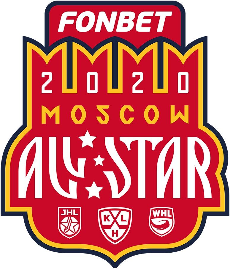 KHL All-Star Game Logo Primary Logo (2019/20) - The 2020 KHL All-Star Game logo uses the colours of the Moscow flag and coat of arms. The four elements at the top of the logo are in the in shape of an