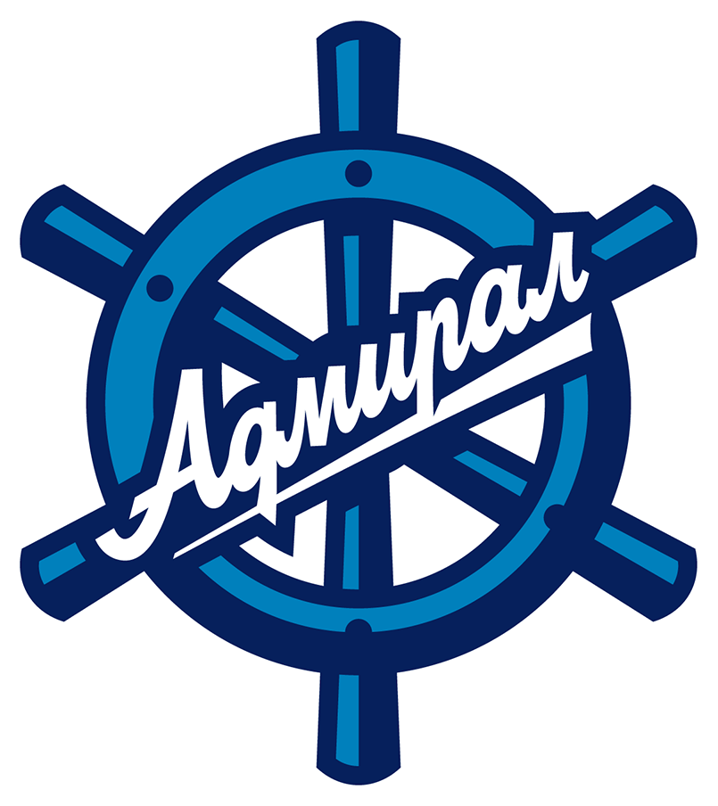 Admiral Vladivostok Logo Primary Logo (2019/20-Pres) - For the 2019-20 season, Admiral Vladivostok updated their primary logo. The design still showed a ship's wheel in two shades of blue and the team's name