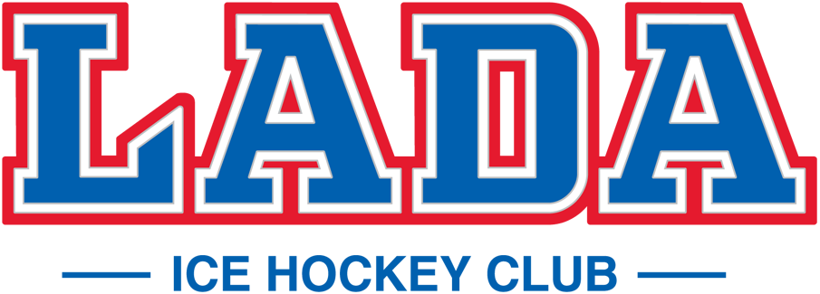 HC Lada Togliatti Logo Wordmark Logo (2017/18-Pres) - LADA in blue, white, and red above ICE HOCKEY CLUB in blue SportsLogos.Net