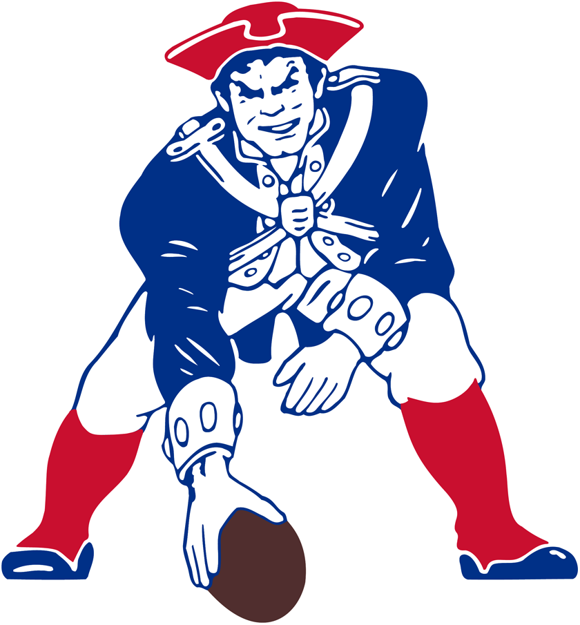 Boston Patriots Logo Primary Logo (1989-1992) - Patriot Pat in revolution-era garb hiking a football SportsLogos.Net