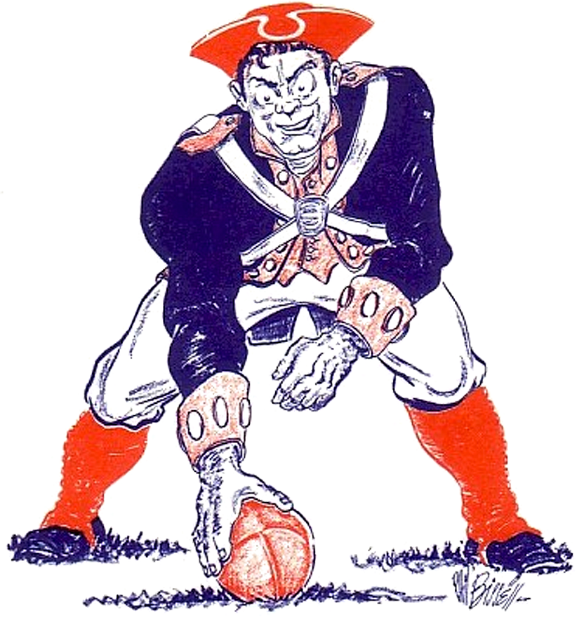 Boston Patriots Logo Primary Logo (1960-1971) - Patriot Pat in revolution-era garb hiking a football, designed originally as a newspaper cartoon and given to the Patriots by the newspaper ahead of their inaugural 1960 season. SportsLogos.Net