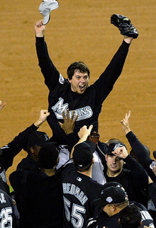 Florida Marlins celebrate their 2003 World Series title, teal is almost completely eliminated