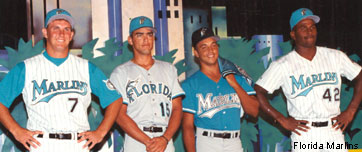 d5a0a096a The Florida Marlins introduce their original teal-heavy uniforms before  their expansion season