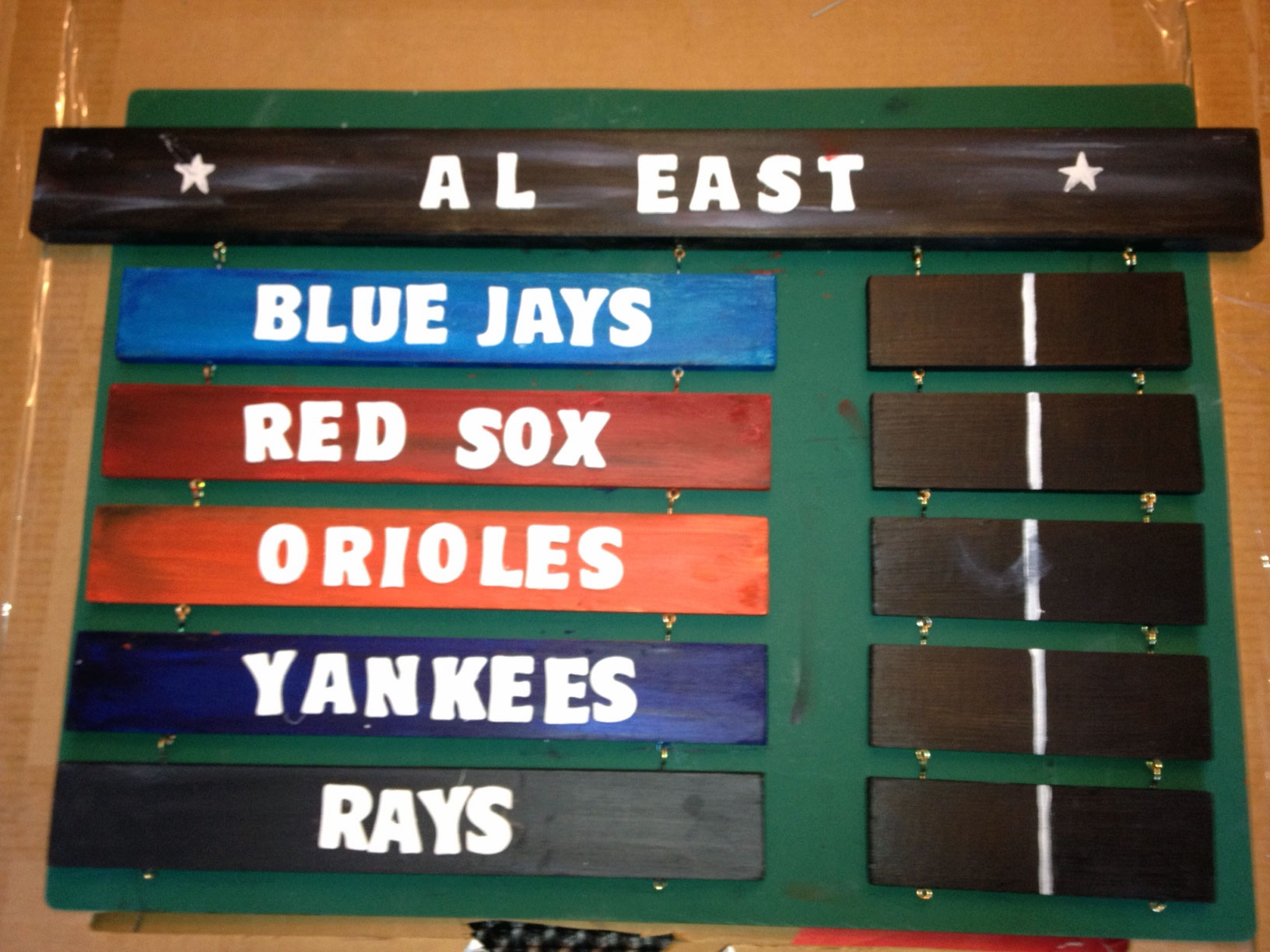 My big Christmas gift for 2011, hand-made by my wife... Jays in first! (click for larger image)