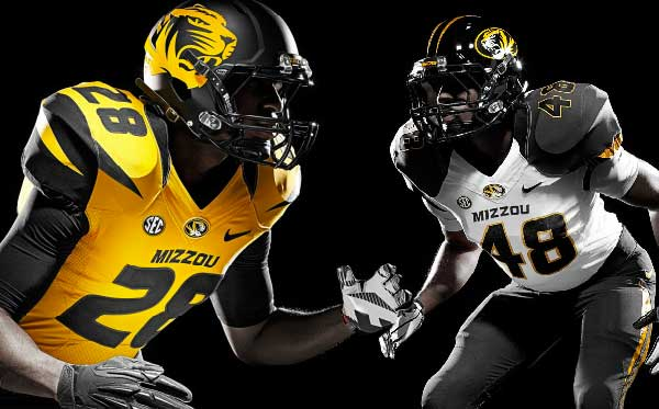 Missouri Tigers Alternate and Road Football Uniforms