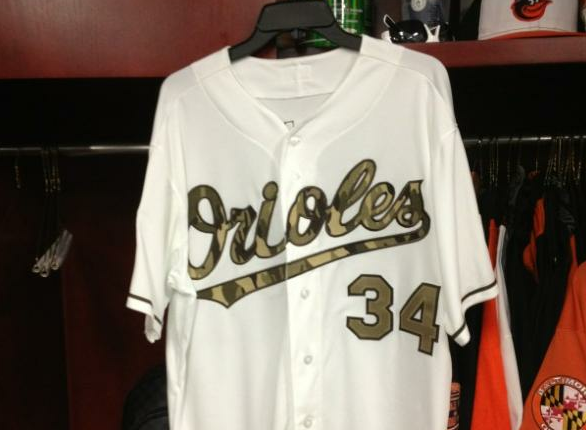 Baltimore Orioles to wear Camouflage Jersey Today
