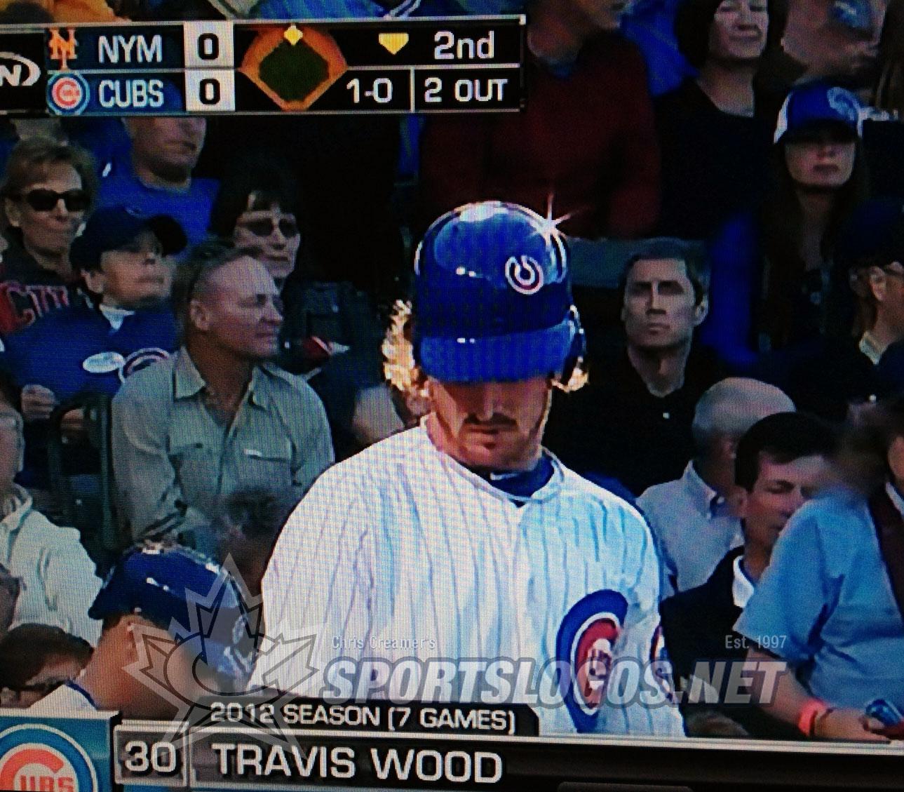 "Cubs pitcher suffers ""helmet logo malfunction"""