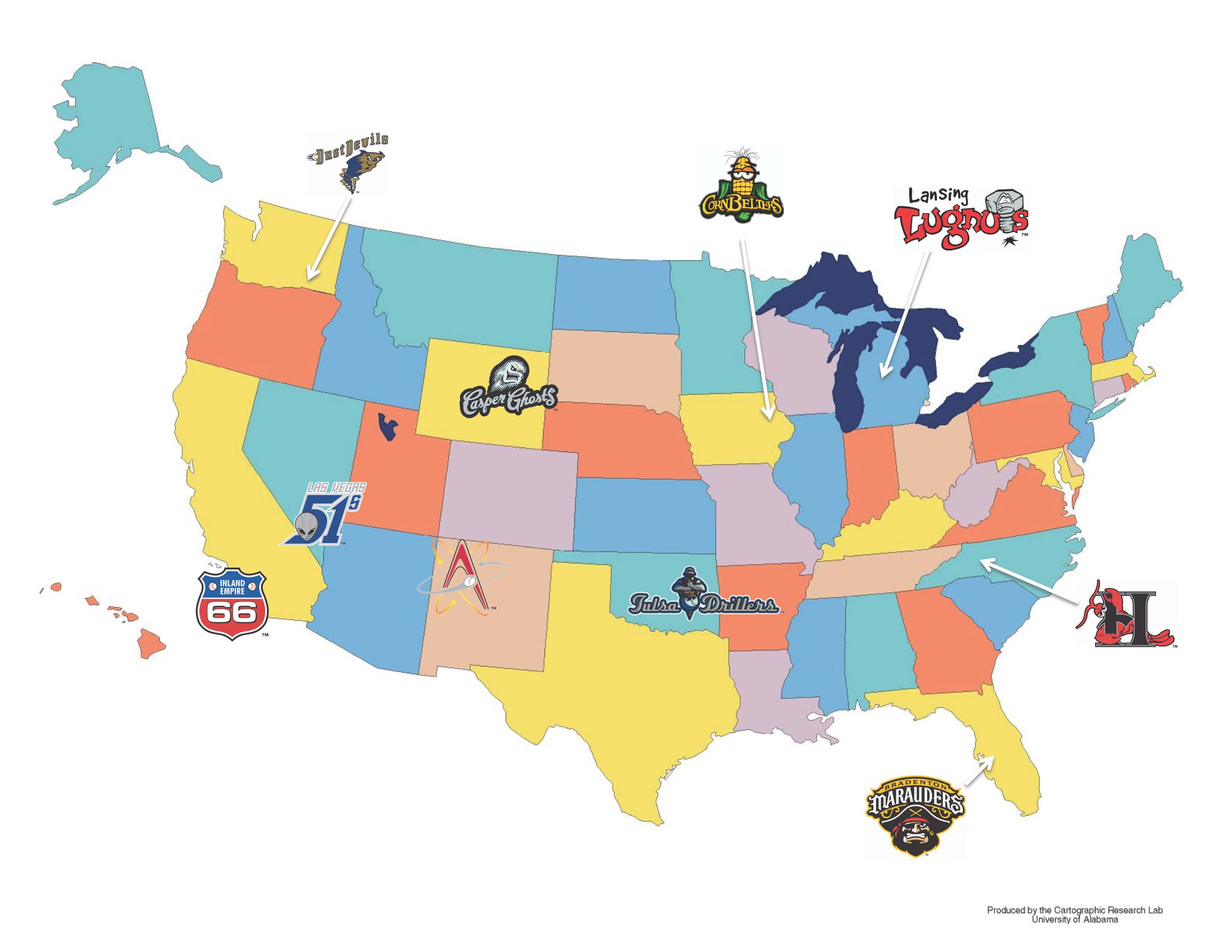 A minor league logo tour of the U.S.A