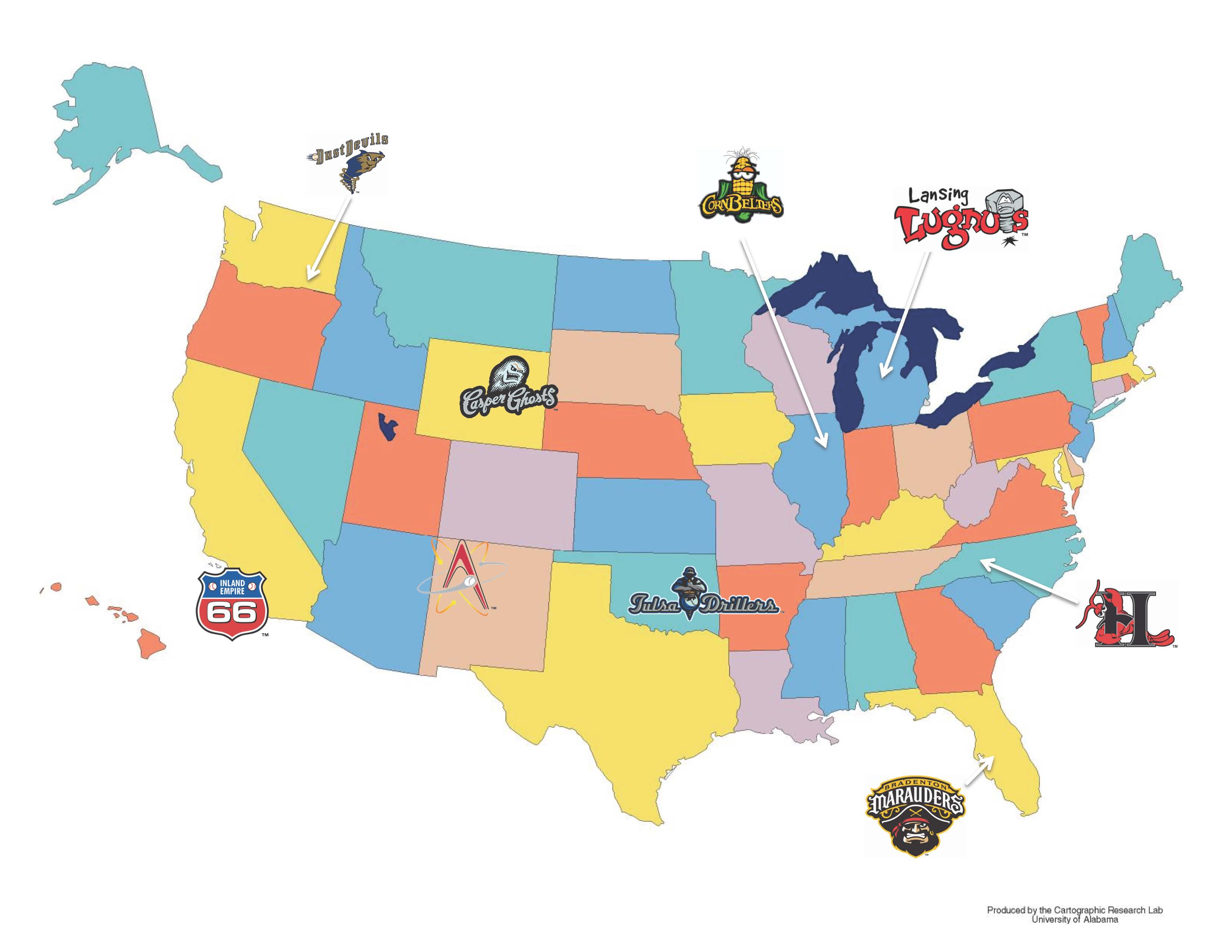 A Minor League Logo Tour Of The USA Chris Creamers - Map of baseball teams in us