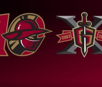 Gwinnett Gladiators echl hockey anniversary 10th logo atlanta