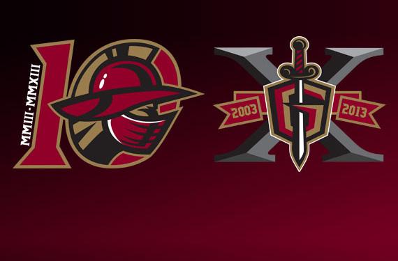 Atlanta's Gwinnett Gladiators Present Team's 10th Anniversary Logos. Plural.