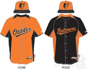 The Baltimore Orioles 2013 BP Home and Road uniforms
