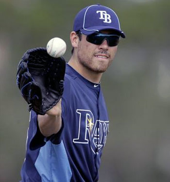 Matt Moore in Tampa Bay's 2012 batting practice uniform