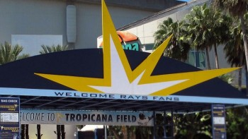 "The Rays ""glint"" logo above the main entrance into Tropicana Field"