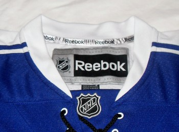 Slightly askew NHL shield logo on the jersey... a sign of a prototype jersey?