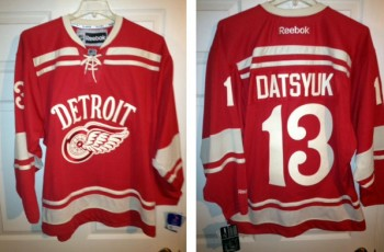 Front and back of the Red Wings Winter Classic Jersey on eBay