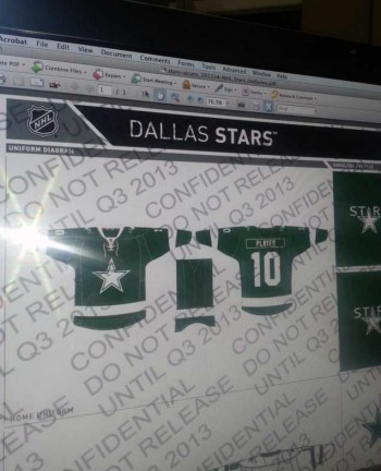 Dallas' new uniform for 2013-14, lots of green and a Dallas Cowboys star?