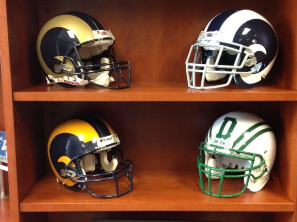 All three Rams helmets, and Demoff's alma mater, Dartmouth