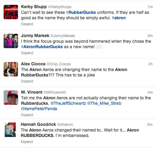 Akron RubberDucks Twitter Reaction