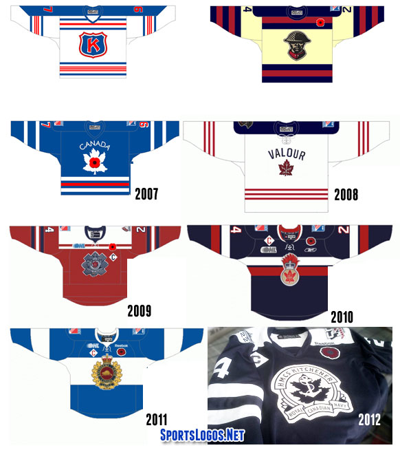 Kitchener Rangers Remembrance Day Jerseys 2007-2012 6e0894938be