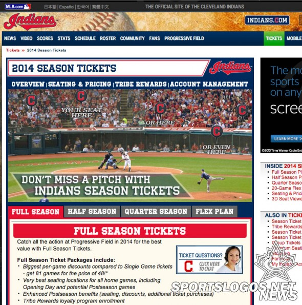 No Wahoo on Indians Website for 2014