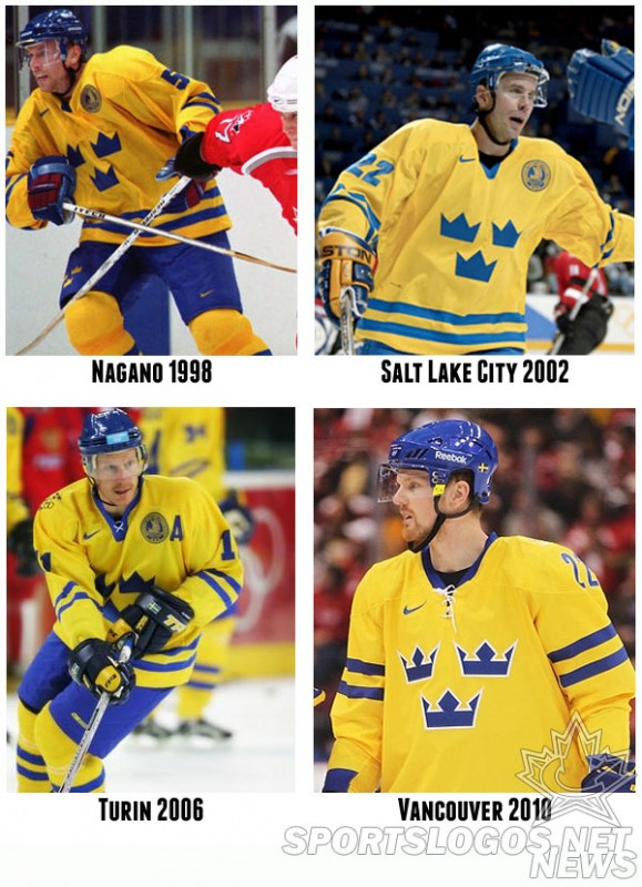 Sweden Olympic Hockey Jerseys 1998-2010