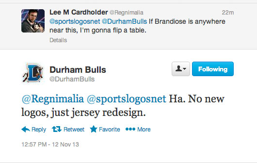 Durham Bulls No New Logo Tweet