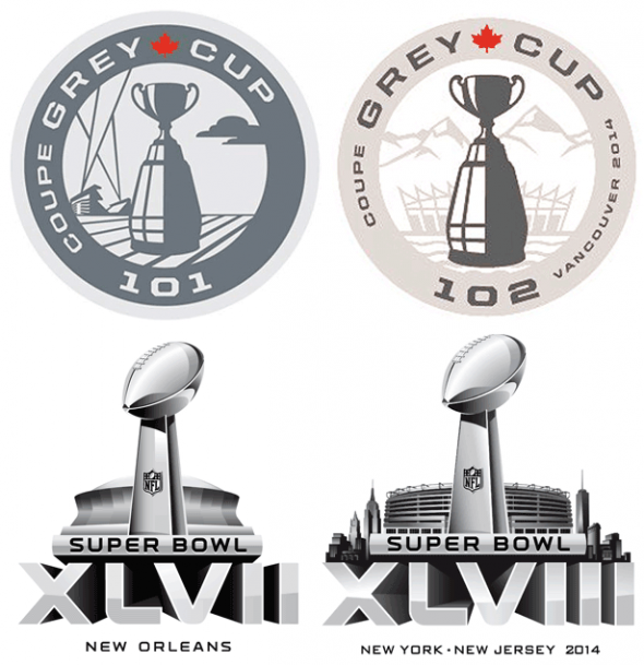 Grey Cup and Super Bowl Logos