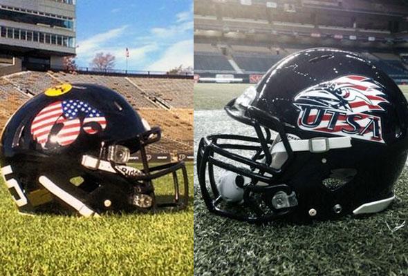 Iowa UTSA Stars Stripes Helmets 2013