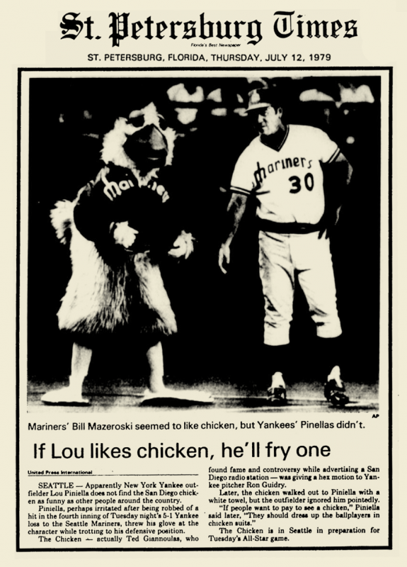 Lou Pinella and San Diego Chicken Mascot