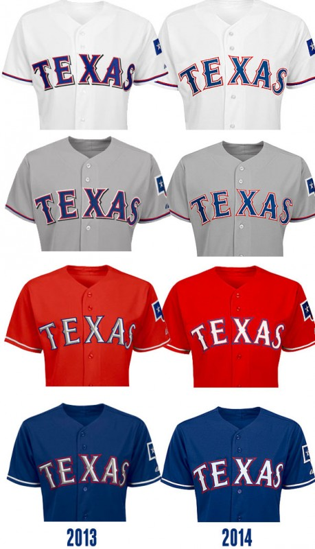 Texas Rangers Compare 2013 and 2014 Uniforms