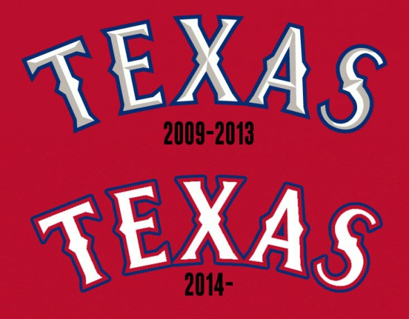 Texas Rangers New Alternate Wordmark Compare