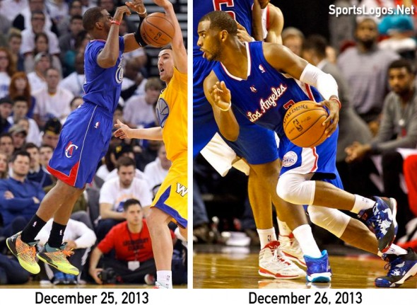 Chris Paul was just one of many players who wore a special shoe design on the 25th. His normal Clippers design on the 26th is also shown