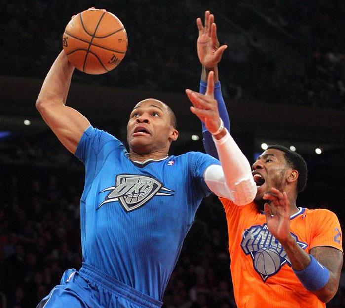 Oklahoma City Thunder New York Knicks Sleeved Christmas Jerseys 2013