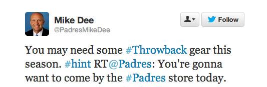 Padres Mike Dee Throwback Tweet
