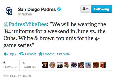 San Diego Padres Throwback Unis Tweet