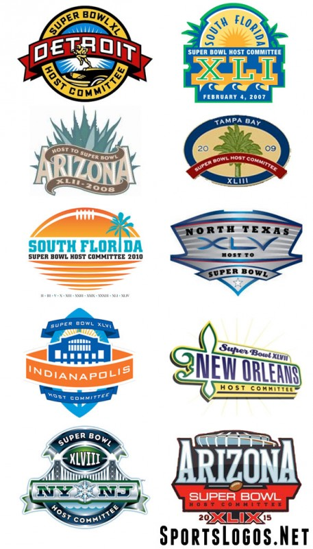 Super Bowl Host Committee Logos XL-XLIX