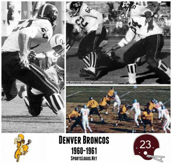 For their first two seasons the Denver Broncos used a brown and gold colour scheme featuring a helmet with player numbers and those bizarre vertically striped socks.