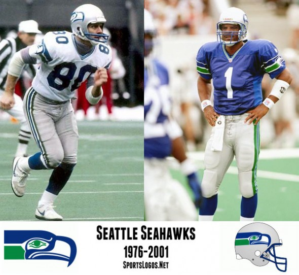 With a logo based off of local Native American imagery, the Seattle Seahawks made their NFL debut in 1976. For their first several seasons the Seahawks wore a grey facemask, switching to blue for the 1983 season.