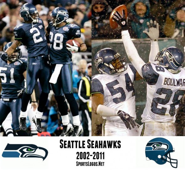 A radical re-design courtesy the boys at Nike for the 2002 season saw the elimination of the grey helmet, the introduction of a shade of blue the Seahawks invented, and neon green alternate jerseys.