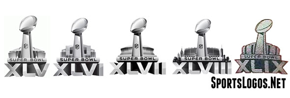 The logos of Super Bowls XLV - XLIX