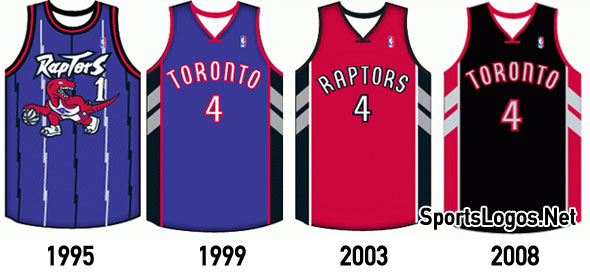 The Raptors have been gradually shifting to a mostly black colour scheme over their franchise history