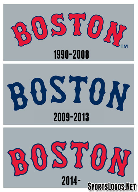 Compare Boston Red Sox Road Wordmarks 1990-2014