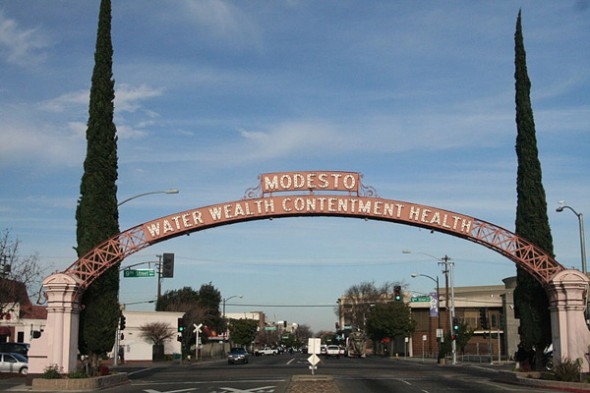 The Modesto arch is reflected in the Nuts' logo. Photo by Carl Skaggs.