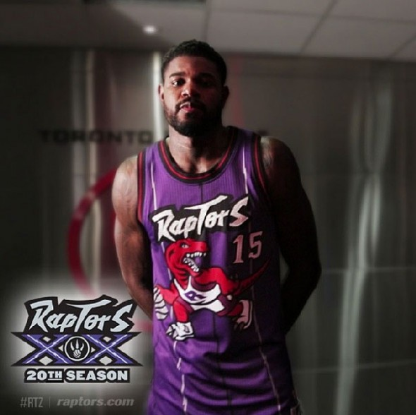 Toronto Raptors Purple Throwback Uniform 2014-15