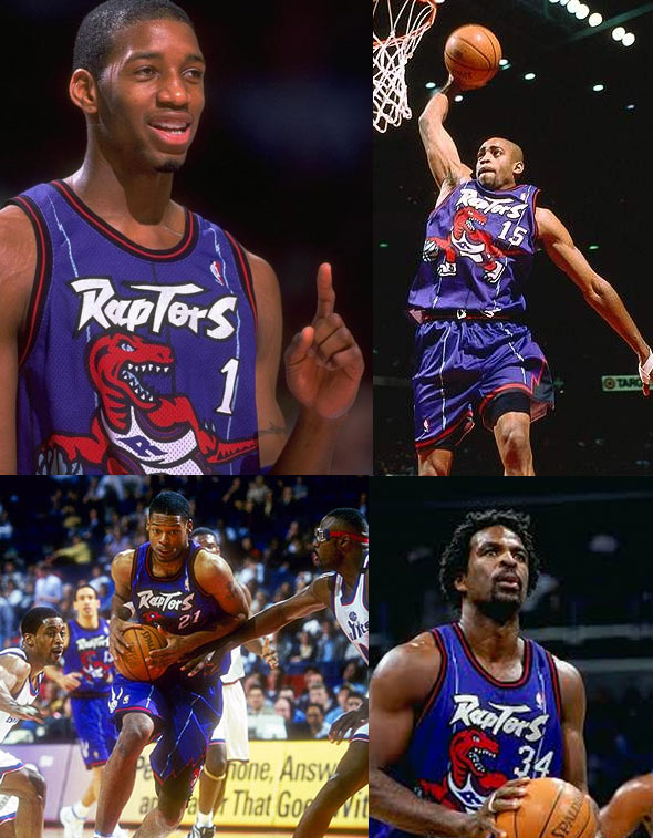 Tracy McGrady, Vince Carter, Marcus Camby, Charles Oakley have all worn the Raptors purple dinosaur uniform