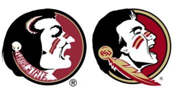 Current Florida State logo on left, potential new one on right
