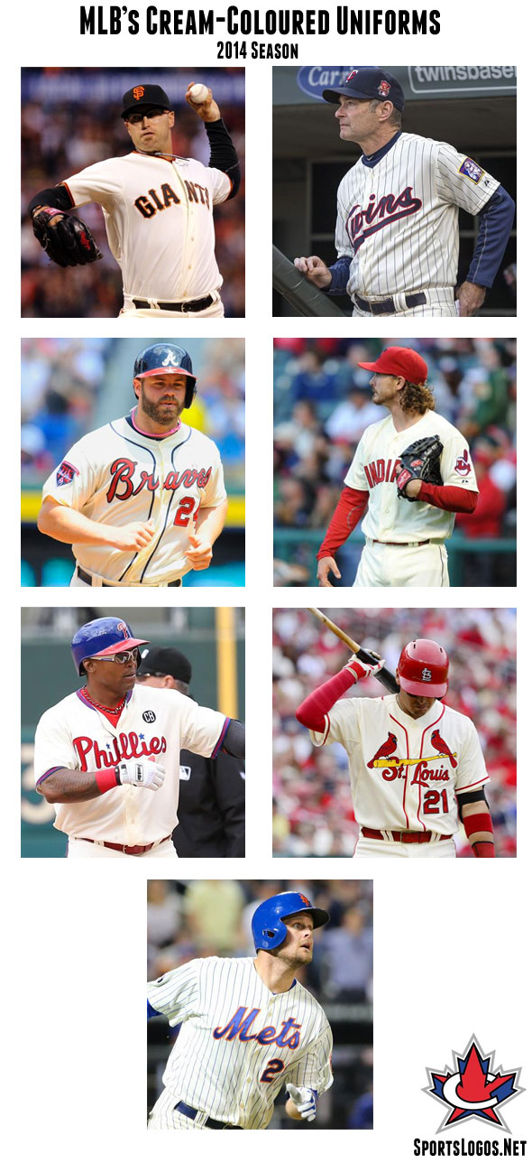 Cream coloured uniforms being worn in Major League Baseball during the 2014 season - San Francisco Giants, Minnesota Twins, Atlanta Braves, Cleveland Indians, Philadelphia Phillies, St Louis Cardinals, New York Mets