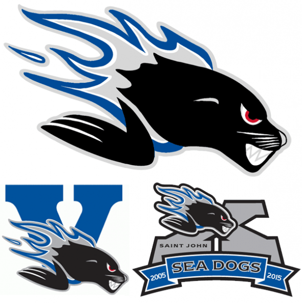 The Saint John Sea Dogs primary logo above their 5th and 10th anniversary marks